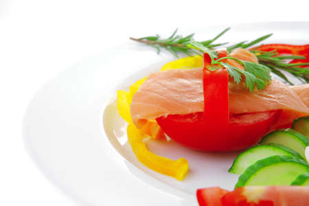 image of red smoked salmon and eggs photo