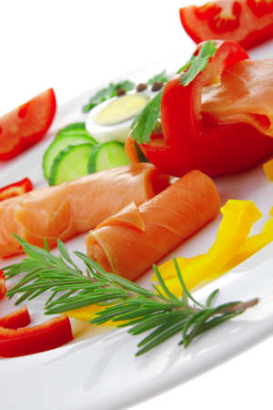 image of smoked salmon slices on white photo