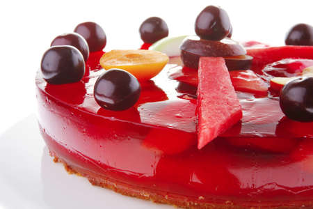 image of cold red jelly cake with cherry and watermelon photo