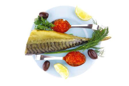 seafish: salmon caviar and smoked seafish on blue plate Stock Photo