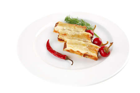 traditional italian cannelloni with fennel and peppers photo