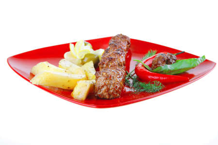 grilled meatballs with potatoes and peppers Stock Photo - 7277184