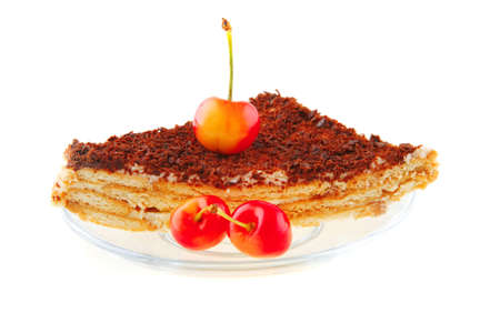 raw cherry and chocolate cake on small transparent photo