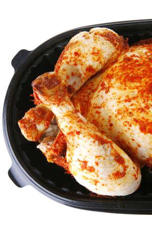 isolated whole roast chicken over white background photo