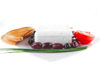 image of soft cheese and tomatoes with olives Stock Photo - 7330140