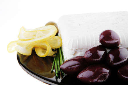 image of feta cheese and olives on black Stock Photo - 7330167