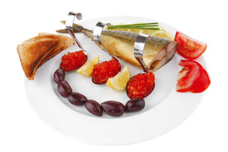 smoked mackerel and toast with red caviar photo