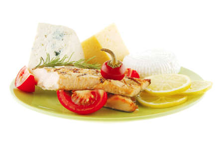 king salmon: pink salmon and french cheeses on green Stock Photo