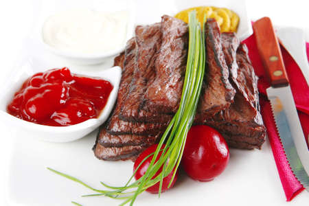 sectioned: served sectioned beef meat on white dish