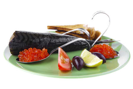 fresh smoked fish on plate with caviar and toast photo