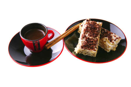 little espresso coffee cup and chocolate cake photo
