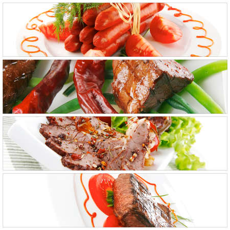 meat sorts on white with raw vegetables