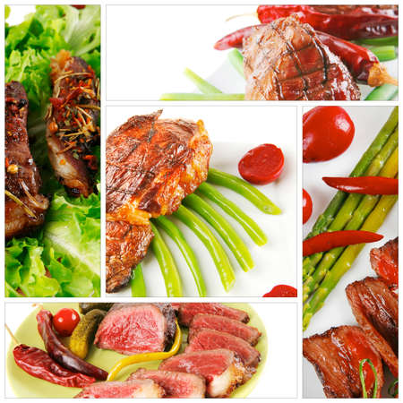 cooked meat: raw and roast meat sets on white