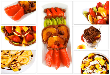 served fruits dessert with exotic tropical fruits photo