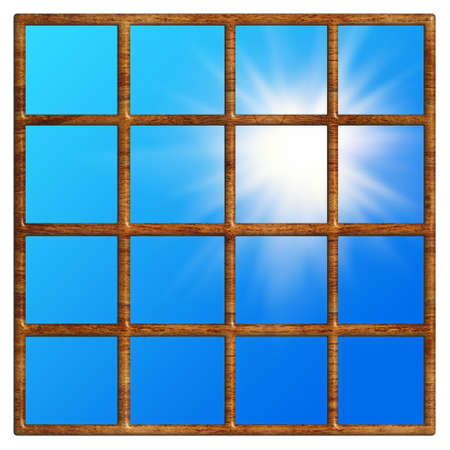image of wooden window with sun as background photo