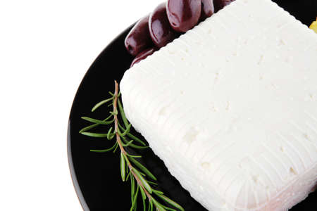 image of soft feta cheese on black Stock Photo - 7461774