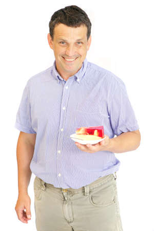image of man with red jelly cake photo