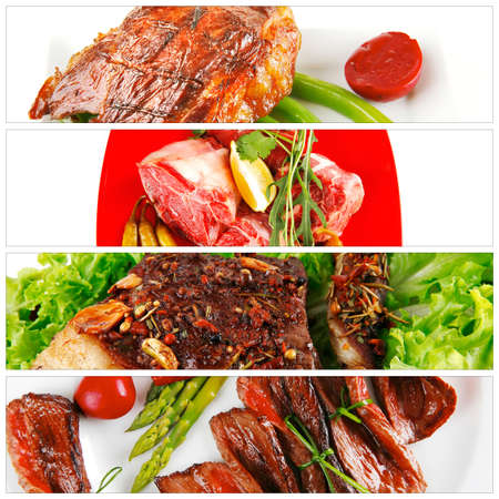 different raw and roasted beef meats on white photo