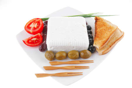 image of soft cheese and tomatoes with olives Stock Photo - 7497141