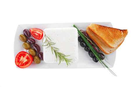 image of soft feta cube and bread toast on plate Stock Photo - 7497119