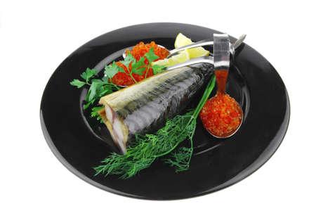 golden smoked herring and fresh red caviar Stock Photo - 7497166