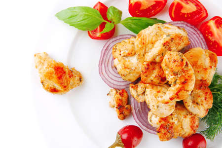 pullet: image of chicken meat and vegetables on plate