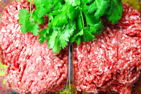 image of fresh raw minced meat in box photo