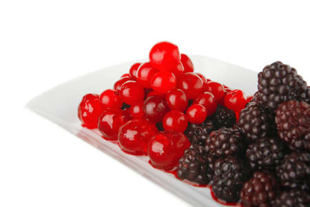 sweet clear cherry and wild berry on plate Stock Photo - 7543349