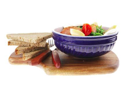 fresh green salad with smoked salmon on wood Stock Photo - 7558061