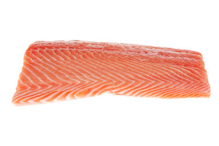 raw big salmon bar over white background photo