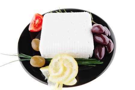 image of soft feta cheese on black photo