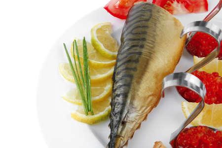 smoked mackerel and toast with red caviar photo
