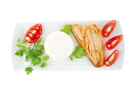 grilled salmon and tomatoes on white plate photo