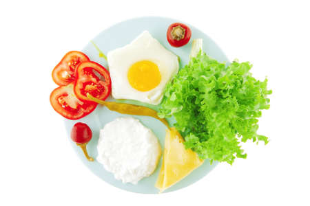 fried eggs with curd and salad on blue plate photo