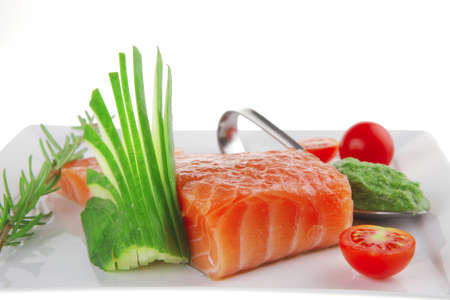 fresh smoked salmon fillet with vegetables and sauce Stock Photo - 7592066