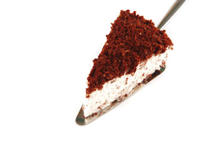 chocolate pie on small paddle over white Stock Photo - 7601081