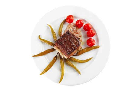 roast beef steak in melted yellow cheese on white photo