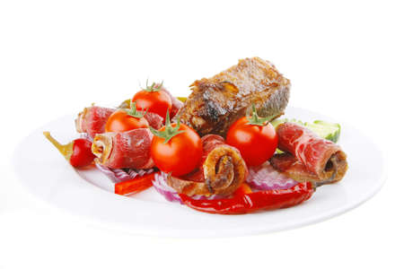 served roasted meat chunk with rolls on white platter Stock Photo - 7601137