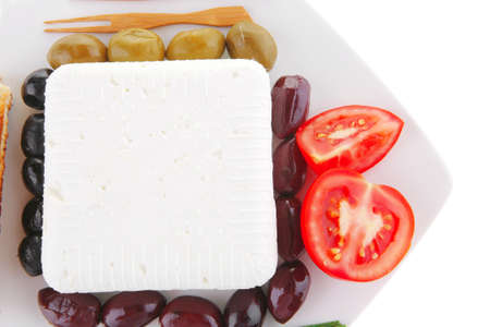 mediterranian: image of feta cheese on white plate