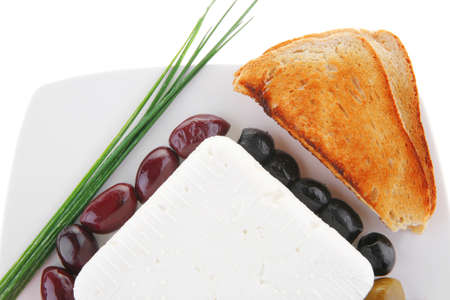 image of soft cheese and tomatoes with olives photo
