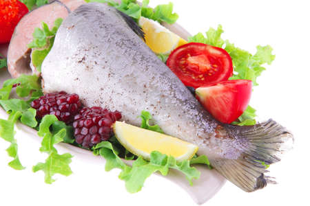 image of baked salmon with salad and pomegranate photo