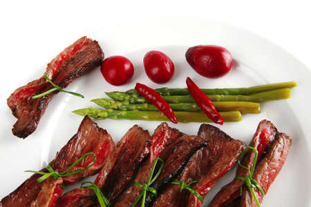 meat slices on white with asparagus on plate photo