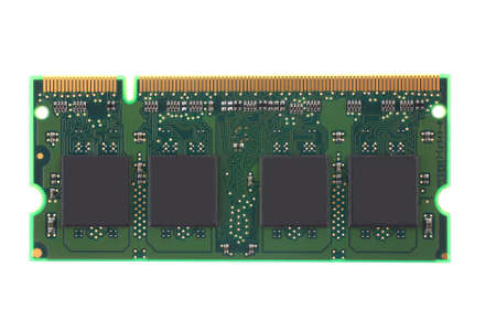 dimm: close up image of memory module over white