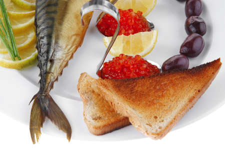 red salty caviar with fish on white plate photo
