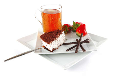 breakfast with cake served on white plate photo