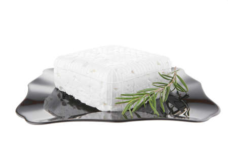 image of soft cheese on black dish Stock Photo - 7643329