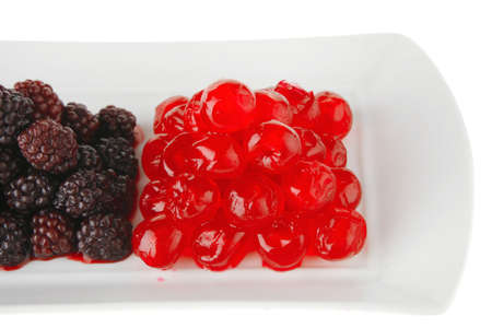 cherry and wild berrys over white dessert plate Stock Photo - 7643453