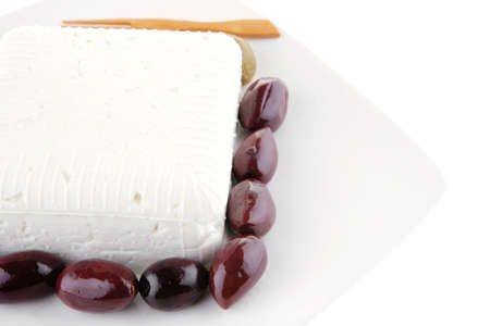 image of white soft cube cheese on plate Stock Photo - 7661812