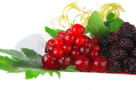 wild berry's and cherry on white plate Stock Photo - 7662648