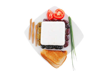 feta and olives with toast and tomatoes Stock Photo - 7660520